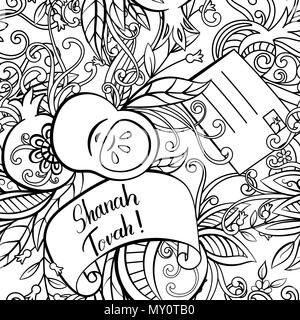Rosh Hashanah (Jewish New Year) seamless pattern. Hand drawn elements apples, pomegranate greeting cards and flowers. Vector illustration. Isolated on white background. Adult coloring book page. - Stock Photo