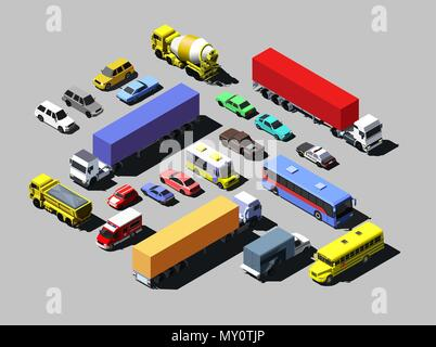 Vector isometric road cars, trucks and other vehicles. - Stock Photo