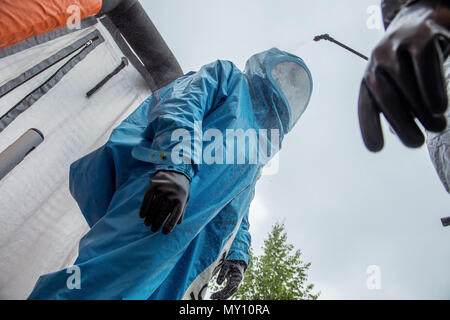 Presentation of performance of units and staff of Czech-British command of radiation, chemical and biological protection for Allied Rapid Reaction Corps (ARRC) was held in Liberec, Czech Republic, on June 5, 2018. Event is part of joint international exercise Yellow cross 2018. (CTK Photo/Radek Petrasek) - Stock Photo