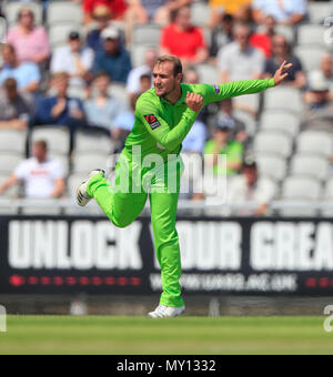 Emirates Old Trafford, Manchester, UK. 5th June, 2018. Royal London One Day Cup cricket, Lancashire versus Yorkshire Vikings; Liam Livingstone bowls for Lancashire Credit: Action Plus Sports/Alamy Live News - Stock Photo