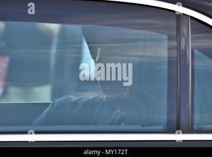 Vienna, Austria. 5th June, 2018. Shadow man. Vladimir Putin, President of the Russian Federation on official visit in Vienna, Austria on 5th June, 2018 Credit: Bettina Wagner/Alamy Live News - Stock Photo