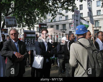 London UK - 05 June, 2018: People in the street at Free Palestine – Stop the Killing – Stop Arming Israel Event as editorial Credit: Stefania Arca/Alamy Live News - Stock Photo