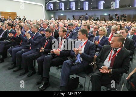 VIENNA, AUSTRIA - JUNE 5, 2018: The Chairman of the Board of Directors at Gazprom, Special Representative of the President of Russia for Cooperation with the Gas Exporting Countries Forum, Viktor Zubkov (R), Russia's Minister of Energy Alexander Novak (2nd R front row), Russia's Minister of Industry and Trade Denis Manturov (3rd R front row), Russia's Minister of Natural Resources and Environment Dmitry Kobylkin (4th R front row), the CEO of RZD Russian Railways Oleg Belozerov (5th R front row), Russia's Minister of Transport Yevgeny Ditrikh (6th R front row) at a meeting of the Russian-Austri - Stock Photo