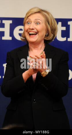 NEW YORK, NY - SEPTEMBER 16: Former United States Secretary of State, U.S. Senator, and First Lady of the United States Hillary Rodham Clinton speaks at a fundraiser to renew the James Zadroga Act at the United Federation of Teachers union on September 16, 2014 in New York City. The Zadroga Act offers health care for emergency responders and other workers who responded to the 9/11 terrorist attacks in 2001.    People:  Former U.S. Secretary of State Hillary Clinton - Stock Photo