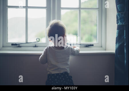 A cute little baby is standing by the window - Stock Photo