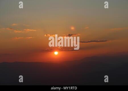 Sun setting in Macedonia - Stock Photo