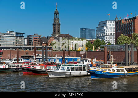 St Michaelis Church and harbour Hamburg Germany - Stock Photo