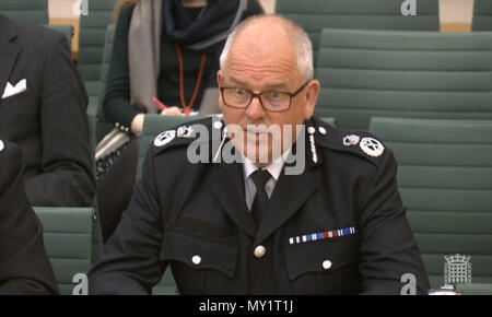 College of Policing chief executive, Mike Cunningham, gives evidence to the Commons Justice Committee at the Palace of Westminster, London, on disclosure of evidence in criminal cases. - Stock Photo