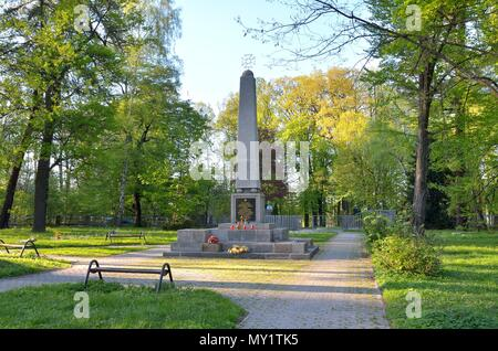 PSZCZYNA, POLAND - APRIL 22, 2018: Monument at the cemetery of Soviet soldiers in Pszczyna, Poland. - Stock Photo