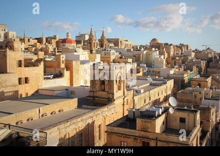 Panoramic view over the Grand Harbour hotel in Valletta, Malta . Bell tower of Santa Marija ta' Gesu Church - Stock Photo