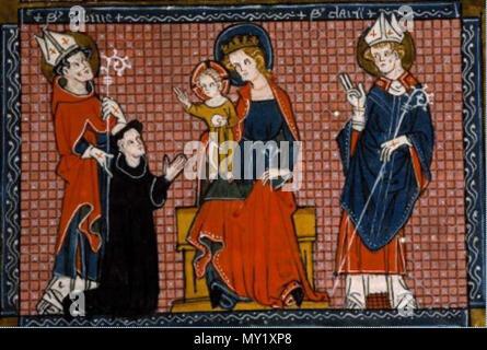 468 Saint Aubin présentant et recommandant un moine à Notre Dame et à son divin Fils. Décrétales de Grégoire VIII commentées par Bernard Parmen - Stock Photo