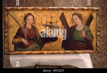 . English: Gothic altarpiece with Saints Madrona (left) and Eulalia (right), from a Barcelona painter of 16th century. 16th century. Anonymous Catalan 474 Santa madronaRetaule - Stock Photo