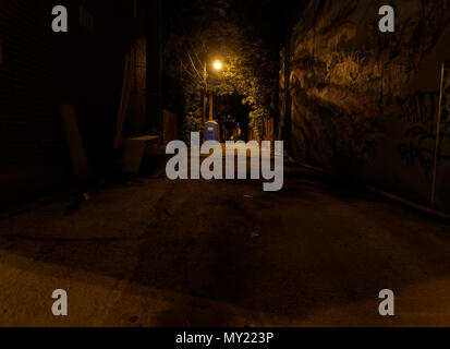Quebec,Canada. A Montreal back alley at night - Stock Photo