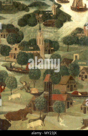 . The St Elizabeth's Day Flood, 18-19 November 1421 [detail outer right wing]. circa 1470. Master of the St Elizabeth Panels (active late 15th century, Northern Netherlands) 489 Sint-Elisabethsvloed - Stock Photo