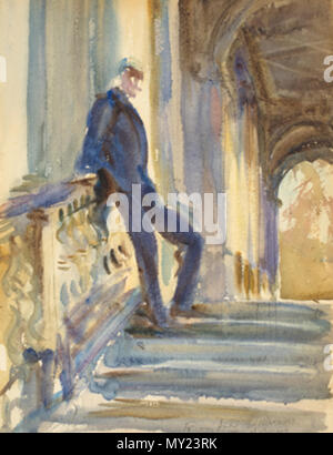 . English: Sir Neville Wilkinson on the Steps of the Palladian Bridge at Wilton House by John Singer Sargent, Watercolor over graphite, 355 x 254 mm . between 1904 and 1905. John Singer Sargen 491 Sir Neville Wilkinson on the Steps of the Palladian Bridge at Wilton House - Stock Photo