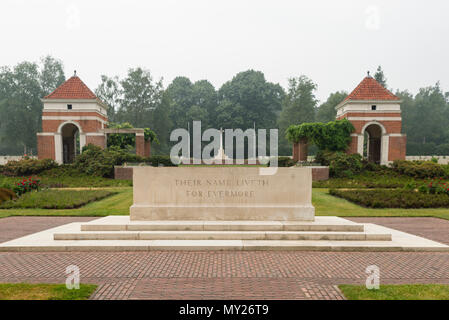 Holten,Netherlands - June 01, 2018: entrance of the graveyard of fallen canadian soldiers during WW2 on the canadian war cemetary in Holland  - Stock Photo