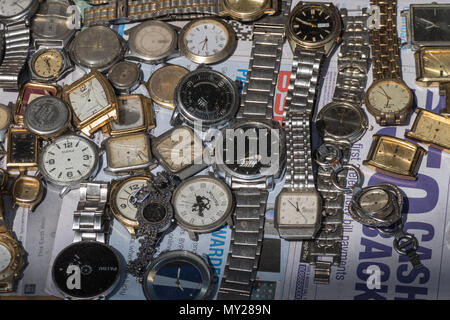 A selection of old watches - Stock Photo
