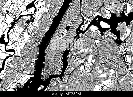 Map of Manhattan with parts of the Bronx, Queens, Brooklyn and Jersey City. Very detailled version without bridges and names. - Stock Photo