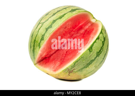 Broken watermelon without seeds isolated on white background - Stock Photo