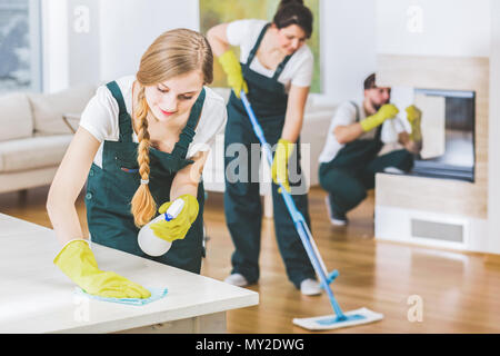 Young member of a cleaning crew wearing green overalls and yellow gloves wiping a white table in apartment interior with the rest of the team in blurr - Stock Photo