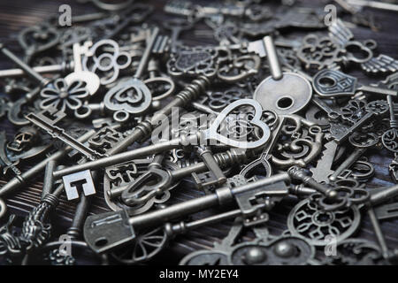 Full frame photo of the various antique keys. Close-up - Stock Photo