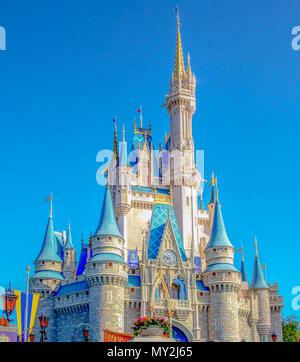 Majestic Cinderella Castle in Fantasyland , Magic Kingdom at Disney World in Orlando, Florida. - Stock Photo