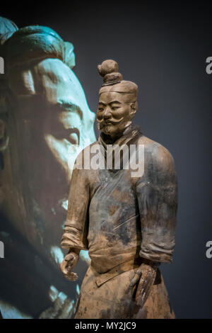 The Terracotta Army is a collection of terracotta sculptures depicting the armies of Qin Shi Huang, the first Emperor of China. - Stock Photo