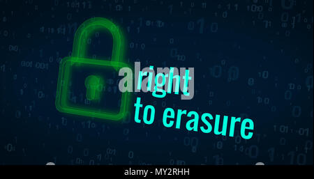 Right to erasure with green padlock icon on digital background abstract concept - Stock Photo