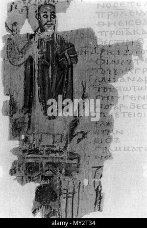 . Theophilus and the Serapeum. Bishop Theophilus of Alexandria, en:Gospel book in hand, stands triumphantly atop the en:Serapeum in en:391. The cult image of en:Serapis, crowned with the en:modius, is visible within the temple at the bottom. Marginal illustration from a chronicle written in Alexandria in the early fifth century, thus providing a nearly contemporary portrait of Theophilus. P. Goleniscev 6 verso. (From A. Bauer and J. Strygowski, 'Eine alexandrinische Weltchronik,' Denkschriften der Kaiserlichen Akademie der Wissenschaften: Wien 51.2 [en:1906]: 1-204, fig. 6 verso) . The origina - Stock Photo