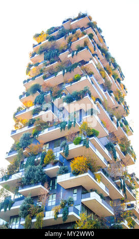 MILAN, ITALY, NOVEMBER 11, 2017 - 'Bosco Verticale', New and modern buildings apartment in city life , Green Architecture in milan Italy, Forest build - Stock Photo