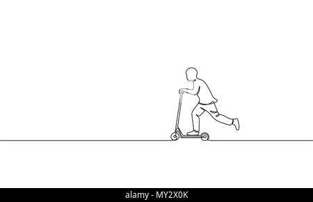Single continuous one line art boy riding scooter. Kids sport activity hobby holiday school recreation fun concept childhood outdoor design sketch outline drawing vector illustration - Stock Photo