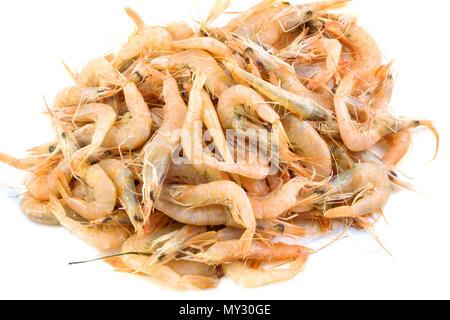 Pile of fresh shrimps isolated on white background. - Stock Photo