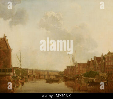. View of the River Amstel in Amsterdam .  Nederlands: Gezicht op de Amstel te Amsterdam. 1747-1785. oil on canvas. 39 × 47 cm (15.3 × 18.5 in). The Hague, Mauritshuis. . between 1747 and 1785 551 View of the River Amstel in Amsterdam by Gerrit Toorenburgh Mauritshuis 178 - Stock Photo