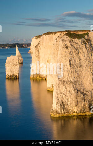 Dawn at the white cliffs and Harry Rocks at Studland, Isle of Purbeck, Jurassic Coast, Dorset, England - Stock Photo