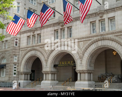WASHINGTON, DC – MAY 15, 2018: Trump International Hotel Washington, D.C. at the Old Post Office Pavilion in the nation's capital. - Stock Photo