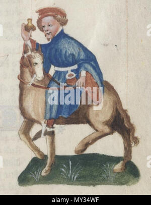 . English: The Manciple in the Ellesmere manuscript of Geoffrey Chaucer's Canterbury Tales. 12 October 2013, 17:58:44. Anonymous 521 The Manciple - Ellesmere Chaucer - Stock Photo