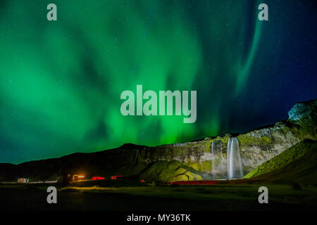 Aurora Borealis, Seljalandsfoss, Iceland - Stock Photo