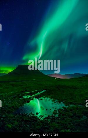 Aurora Borealis, Mt. Kirkjufell, Grundarfjordur, Iceland - Stock Photo