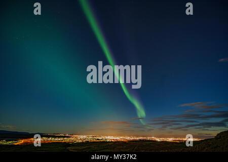 Aurora Borealis, Reykjavik, Iceland - Stock Photo