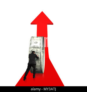 Rear view businessman pushing money circle on growing red arrow in white background - Stock Photo