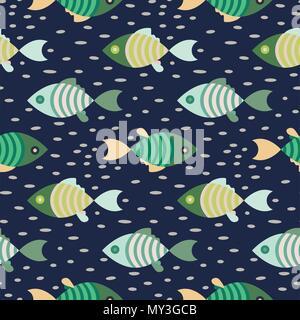 Seamless fish marine pattern dark blue and green repeat background. - Stock Photo