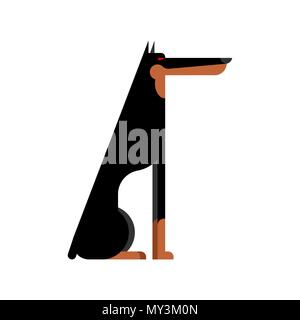 Doberman service dog protector. Pet Vector illustration - Stock Photo