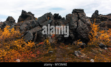 Dimmuborgir lava fields near Lake Myvatn in the north of Iceland - Stock Photo
