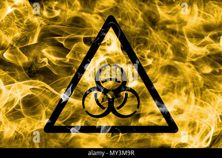 Biohazard hazard warning smoke sign. Triangular warning hazard sign, smoke background. - Stock Photo