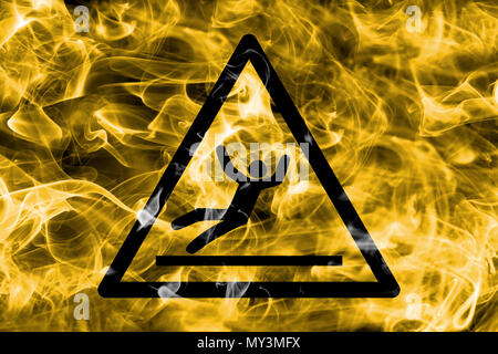 Slip hazard warning smoke sign. Triangular warning hazard sign, smoke background. - Stock Photo