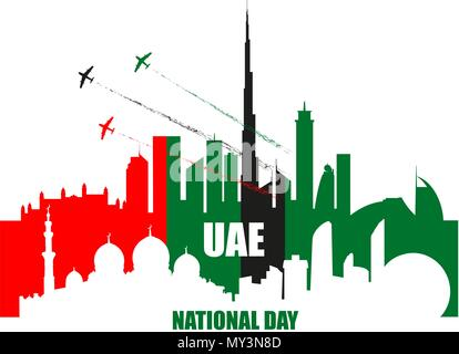 UAE National Day poster with landmarks, skyscrapers silhouettes and planes performing aerobatics in national flag colors vector illustration. Dubai an - Stock Photo