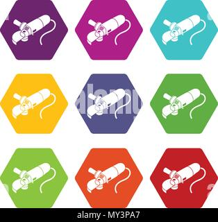 Angle grinder icons set 9 vector - Stock Photo