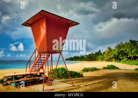 Haena Beach with lifegaurd tower. Kauai, Hawaii - Stock Photo