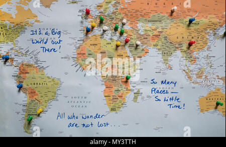 Travel map with push pins stock photo 91553652 alamy a world map with travel quotes and countries identified with push pins photographed from above gumiabroncs Choice Image