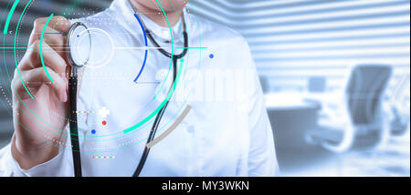 Accurate diagnosis appropriate treatment medical concept.Doctor with a stethoscope in the hands on borad room background - Stock Photo
